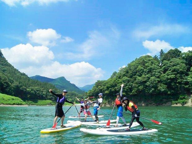【水上2日間】【職場旅行モデルコース】15種の温泉巡り水上館とSUP体験でチームビルディング